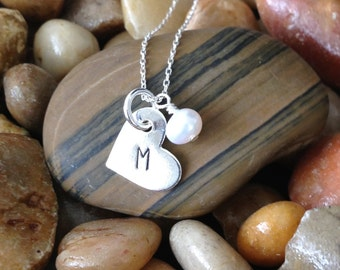 Monogram Necklace, Initial Necklace, Sterling Silver Heart Charm, Birthstone