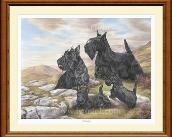 SCOTTISH TERRIERS 'scotties' limited edition print 'Highland Breeze'