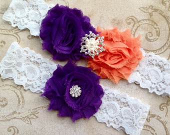 Wedding Garter, Wedding Garter Set - Purple and Orange Garter, Purple Wedding Garter, Lace Wedding Garter, Purple Orange Garter, Garter Set