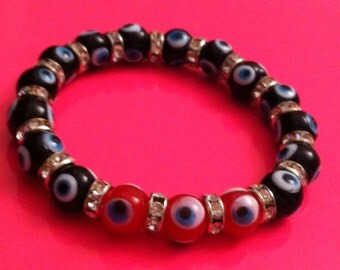 Evil eye bracelet with black and red evil eye beads and crystal rondells, evil eye bracelets, evil eye, stretch bracelet