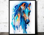 Horse watercolor painting print, Horse art, animal art, illustration print, animal watercolor, animal portrait, Horse painting