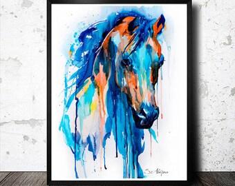 Horse watercolor painting print, Horse art, animal art, illustration print, animal watercolor, animal portrait, Horse painting