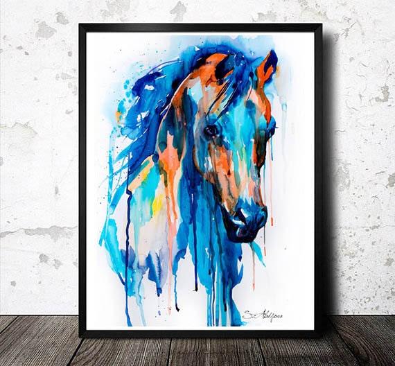 Impression de peinture laquarelle art cheval art Peinture impression