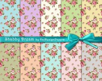 "Floral digital paper : ""Shabby Dream"" roses digital paper, floral digital background, digital floral patterns, shabby chic digital paper"