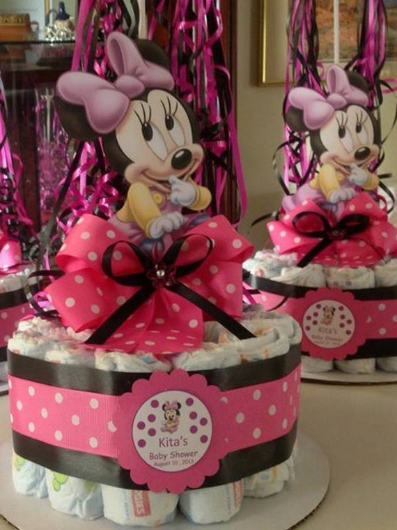 Minnie mouse baby shower diapers centerpiece by for Baby minnie mouse decoration ideas
