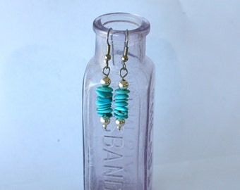Turquoise Stone & Sterling Silver Bead Earrings