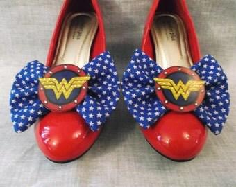 Nerdy Chic Wonder Woman Rhinestone Logo Shoe Clips