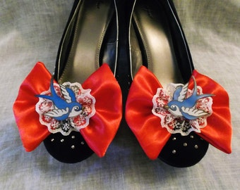 SALE* Pin Up Nautical Tattoo Sparrows & Lace Bow Shoe Clips