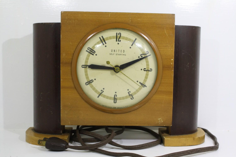 Electric Alarm Clock ~ Art deco vintage wood united clock electric alarm