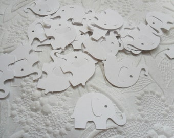 50 White Elephant Confetti-1 Inch-Scrapbooking-Gift Wrapping-Embellishments-Baby Shower-Girl-Boy-Birthday Party-Punches