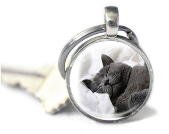 Cat Keyring, Key chain gift, gift for cat lover / owner Keychain, cat accessories, cat photo keyring