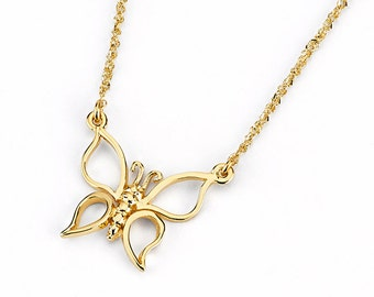 14k Butterfly Necklace, Butterfly Necklace, Gold Butterfly, Dainty Jewelry, Butterfly Jewelry