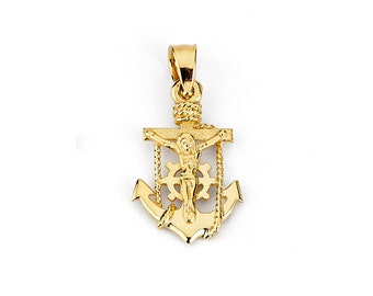 Mariners cross etsy 14k mariners cross 14k anchor 14k crucifix gold cross gold anchor aloadofball Choice Image