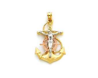 14k Gold Religious Pendent, Gold Religious Pendent, Jesus Pendent, Religious, Tricolor Religious Pendent, Anchor Pendent, Crucified Jesus