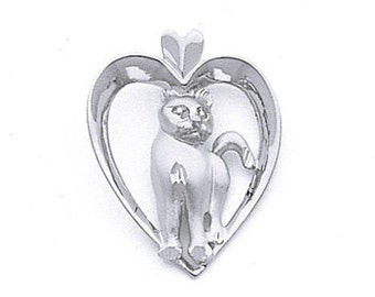 Sterling Silver Cat In Heart Pendant, Cat in Heart Pendant, Cat Pendant, Animal Jewerly, Animals, Love, Cat, Heart, Sterling Silver