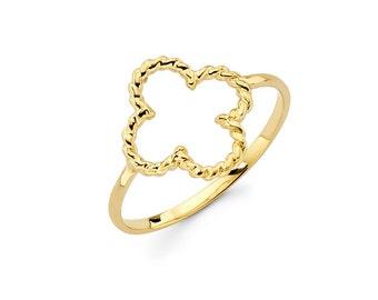 14K Solid Gold Clover Ring, Clover Ring, Clover, Flower, Floral, Irish, Luck, Four Leaf Clover