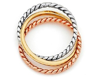 14K Tricolor Twisted Attached Rings, Tricolor Rings, Tricolor Jewelry, Attached Rings, Twisted Rings, Rose Gold, White Gold, Yellow Gold