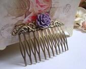 Purple flower hair comb