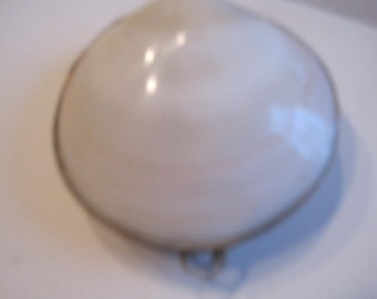 vintage mother of pearl  trinket box..shape of clam..lovely pieced..