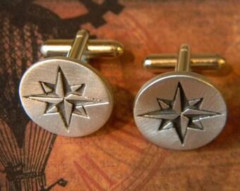 Compass Rose Steampunk Adventurer's Cuff Links