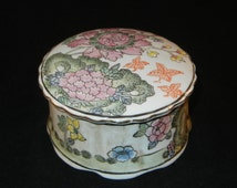 Vintage HFP Macaw Jewelry Box Porcelain China Large Round Porcelain Macaw Jewelry Box China