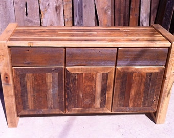 Custom Rustic Reclaimed Wood Buffet Cabinet/ Credenza / Storage Cabinet / Entertainment Center