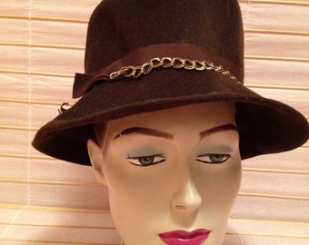 Brown Felt Hat from the 70's with a chain