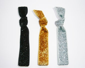 Set of 3 Glitter Hair Tie Package by Crimson Rose Cottage - Black, Gold and Silver Glitter Hair Ties that Double as Bracelets