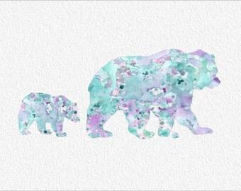 BEAR Watercolor Art Painting Print 5 x 7 Archival Watercolor Bear and Cub Print Wall Decor Giclee Wall Art