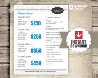 Photography Package Pricing - Photographer Price List - Marketing - Photoshop Template Photography Packages - INSTANT DOWNLOAD