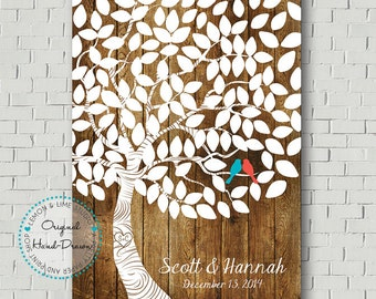 Unique Wedding Guest Book Alternative Wedding Tree Guestbook Tree Print Wedding Keepsake Wedding Gift Bride Gift Faux Wood Wedding POSTER