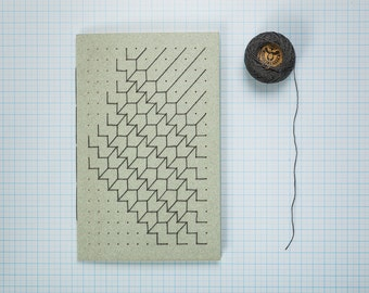 Free Shiping!!!Handmade A5 Gray  Notebook  Gray Embroidery Travel Journal Bound Gift Geometric