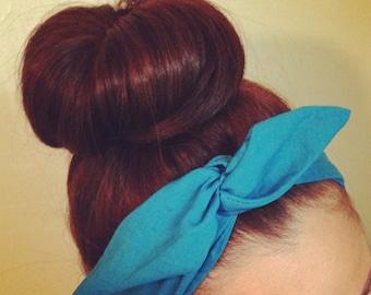 Teal Blue Dolly Bow Headband