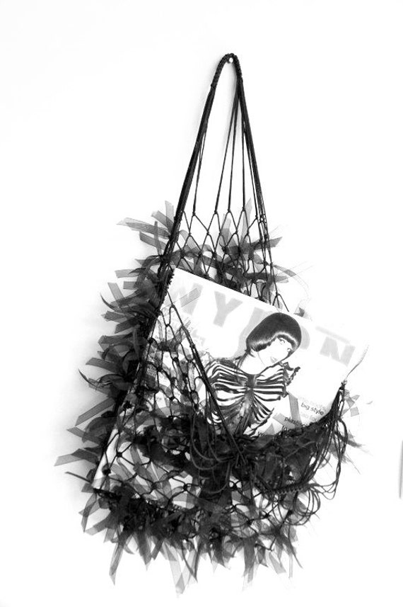 Halloween Gift, Hairy Black Net Bag, Free Shipping, Purses, Handmade Bags, Bags