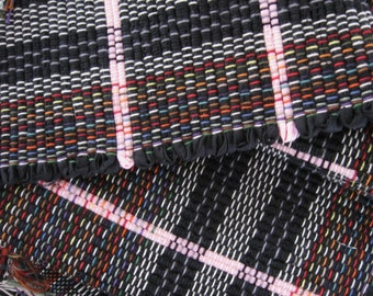 """black pink rag rug 43"""" x 25"""" hand woven ebony vivid pink from recycled sheets throw rug fringes #39"""
