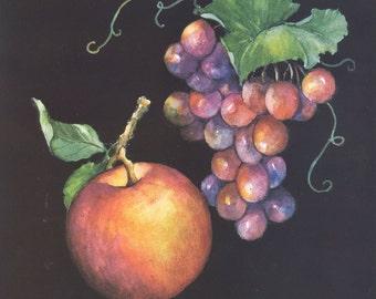 Apple & Grapes 10 x 8 lithograph