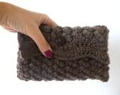 Brown crochet clutch, crochet purse in brown wool, crochet beauty case.