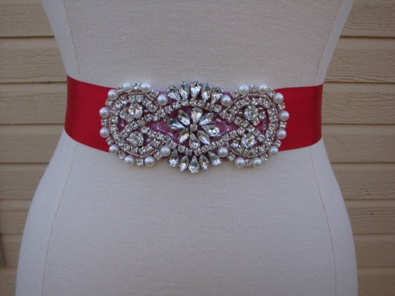 Red bridal sash rhinestone wedding belt bridesmaid sash for Wedding dress with red belt
