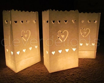 20 Luminary Bags - White - Center Heart Design - Wedding, Reception, and Party Decor - Flame Resistant Paper - Candle Bag - Luminaria