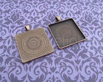 20 - 30mm Square Pendant Trays - Antique Copper Color -  Vintage Style - Pendant Blanks Settings Mix 30 mm 1 3/16 inch