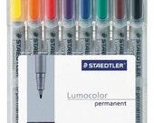 Staedtler Lumocolor Fine Point (F) Permanent Markers 8 colored pens set