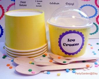 25 Yellow Ice Cream Cups - Large 16 oz