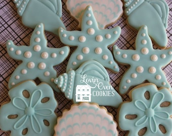 Starfish & Sea Shell Cookies - 1 Dozen / Turquoise Wedding Favor / Beach Wedding Decorated Sugar Cookies
