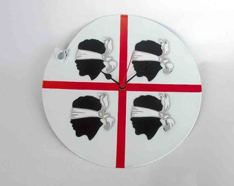 vinyl wall clock - Flag of Sardinia - old records recycled