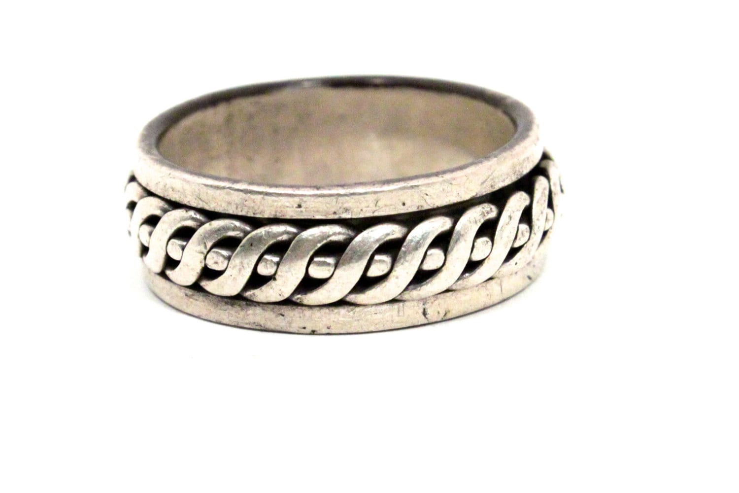 s spinning ring sterling silver weave band by