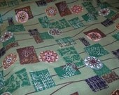 Vintage Bolt 1950s Cotton Barkcloth Fabric: Green w/ Medallions Gold - Per Yard