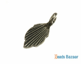 Karen Hill Tribe silver Tiny Wild Forest Leaf Charm, 9 mm