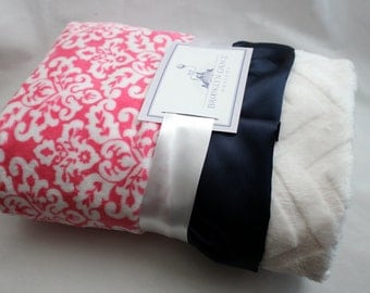 Sweet Girl Bright Pink Damask Minky with Embossed Chevron Baby Blanket and Finished with Navy Satin Trim - Crib Bedding, Infant and Toddler