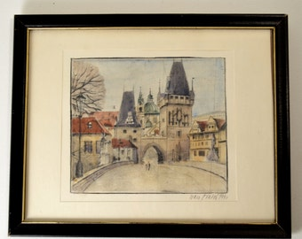 Original Hand tinted Vintage Etching of French Village Signed by Artist