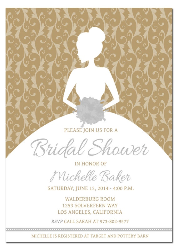 Bridal shower invitation pick any color combo bride for Bridal shower coloring pages
